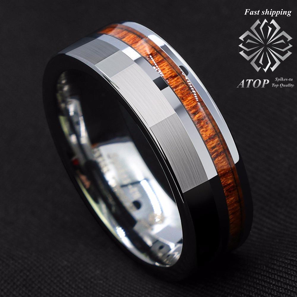 8mm Gümüş Fırçalı Tungsten karbür yüzüğü Merkez Dışı Koa Wood Düğün Band Yüzük J190705