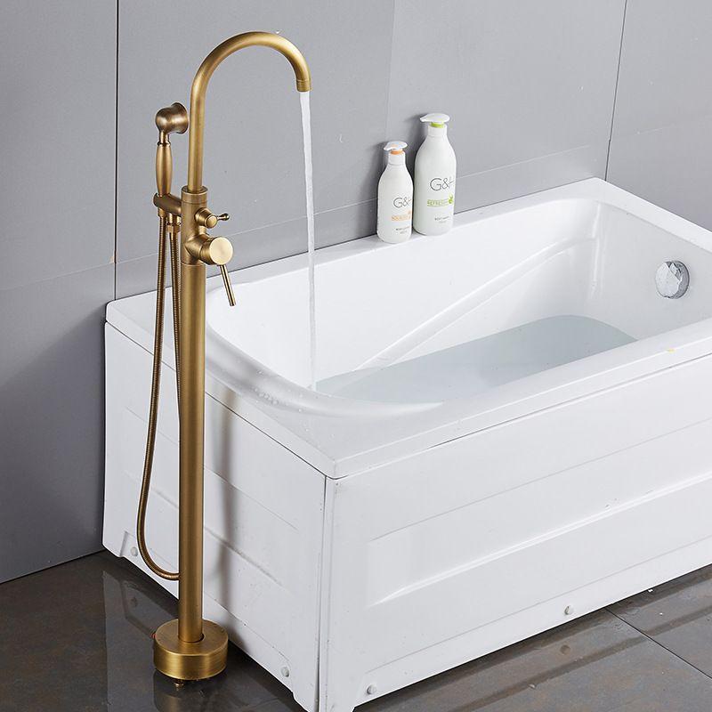 Badewannenarmaturen Antike Goldene Bodenmontage Freistehende Badewanne Wasserhahn Dusche Set Badewanne Füllstoff Mischbatterie Für Badezimmer