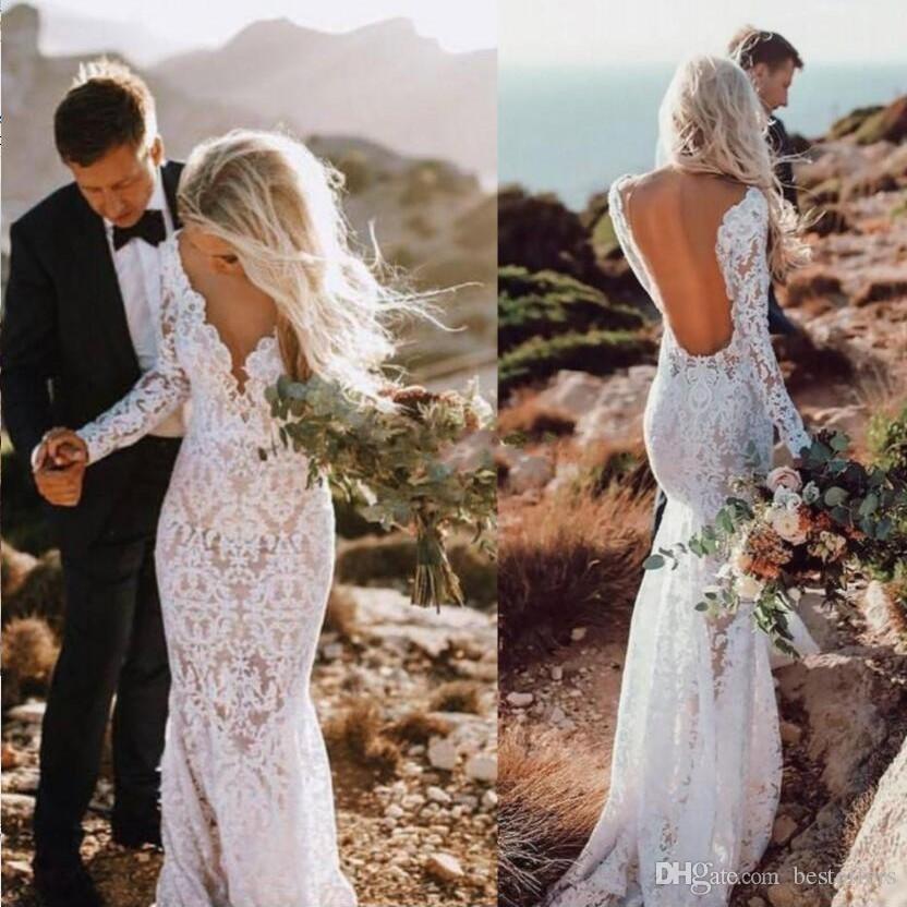 Vestidos de novia de encaje de país 2019 Sexy sirena Mangas largas Longitud del piso Sin espalda Playa Boho Vestidos de novia Ilusión Inferior
