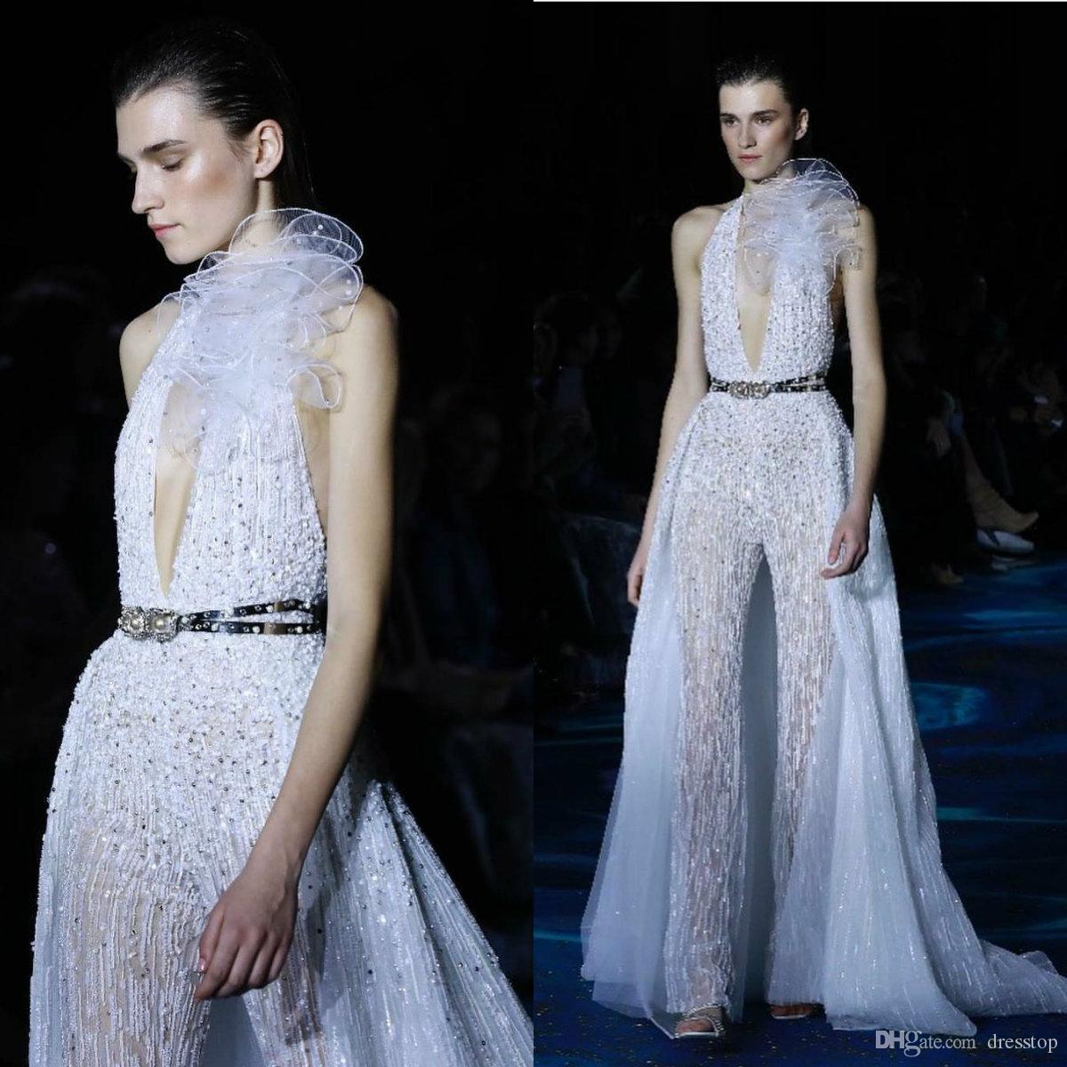 Großhandel Zuhair Murad Sexy Prom Dresses 12 Halfter Tiefem V Ausschnitt  Pailletten Perlen Abendkleider Mit Abnehmbaren Overkirt Overalls Roben De