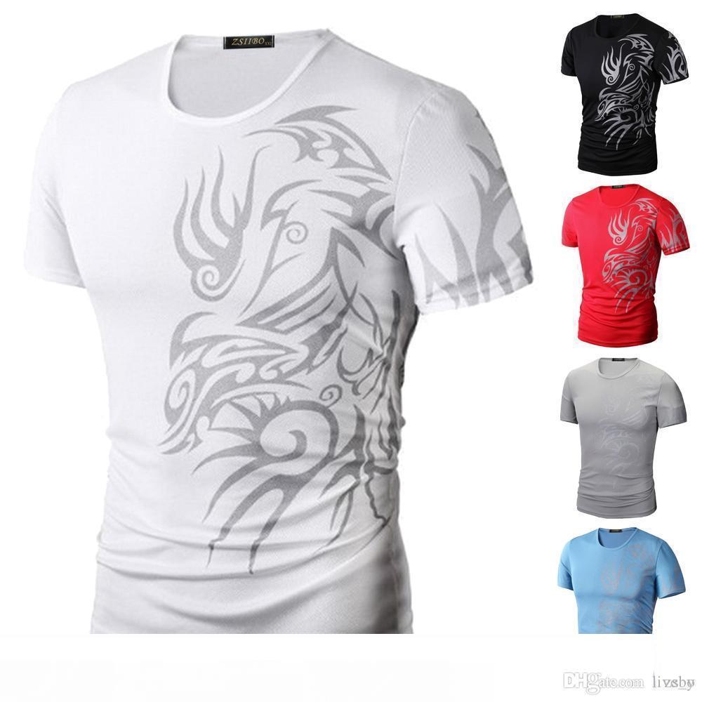 Los hombres de la manera del deporte camisas de la camiseta de manga corta del cuello de O Dragón Imprimir Super Elastic Slim Fit Buena No Disponibles Calidad TX70 R