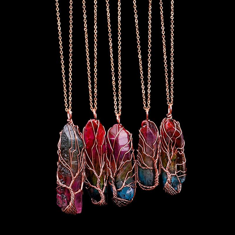 Hayat kolye kolye Kadınlar Erkekler Opal Kristal uzun Zinciri Beyanı Takı Hediyelik El Yapımı 7 Chakra Gökkuşağı Doğal Taş Ağacı