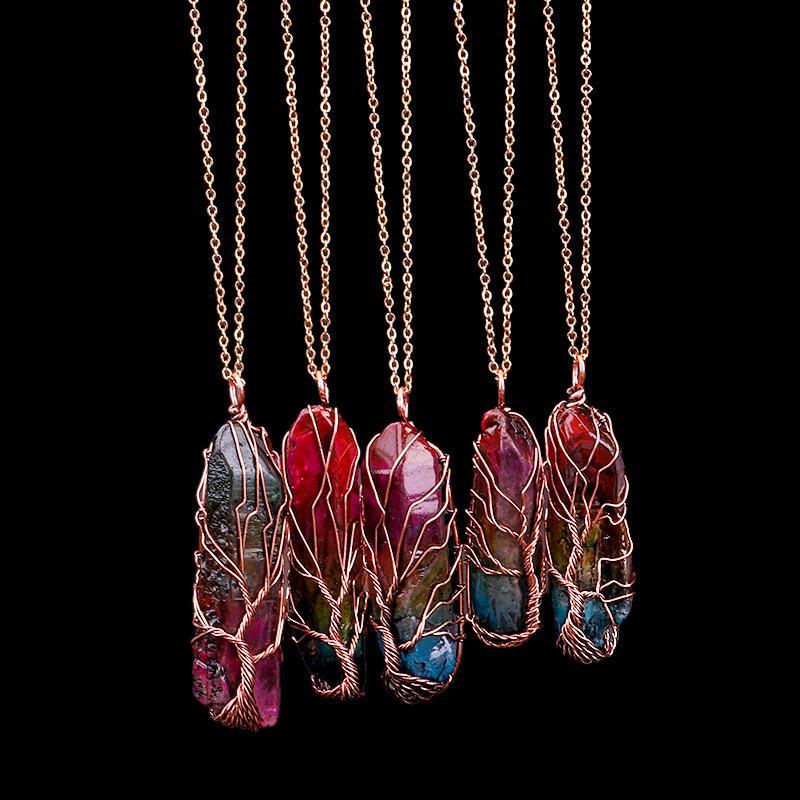 Handmade 7 Chakra do arco-íris Natural Stone Tree of Colar Pingente Vida Mulheres Homens Opal Cristal Declaração de longa cadeia de jóias presente