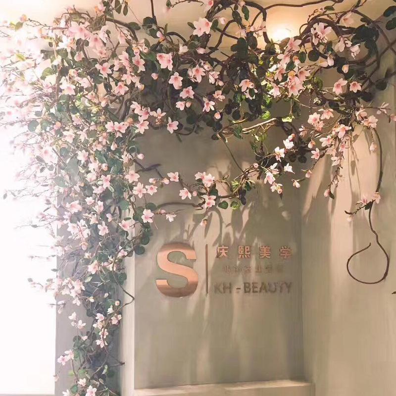 Plastik Rattan Otel Pencere Dekorasyon Yapımı Yeni Tasarım 1.6M Simüle Manolya Cane Düğün Çiçek Sanatı Peyzaj