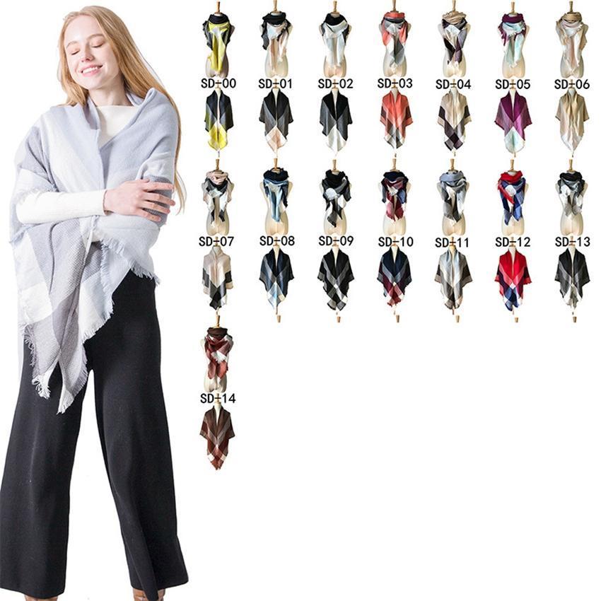 أزياء العلامة التجارية الجديدة الدافئة التصميم المثلث الاوشحة منقوشة موضة في شتاء ربيع وشاح للنساء الباشمينا الأوشحة ZZA849