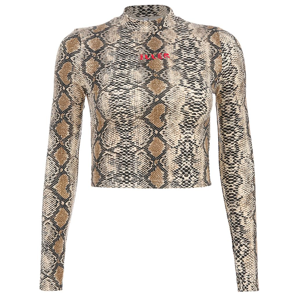 25# Mock Neck Snake Skin Print Slim T-shirt Women Long Sleeve Tops 2019 Autumn Womens Slim Fitted Stand Collar T Shirt Tee