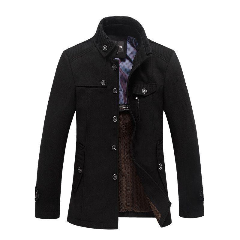 Giacca a vento Giacche 2020 inverno 5XL cappotti spessi goccia uomini di trasporto di lana nero casual unico abbigliamento petto collo alto