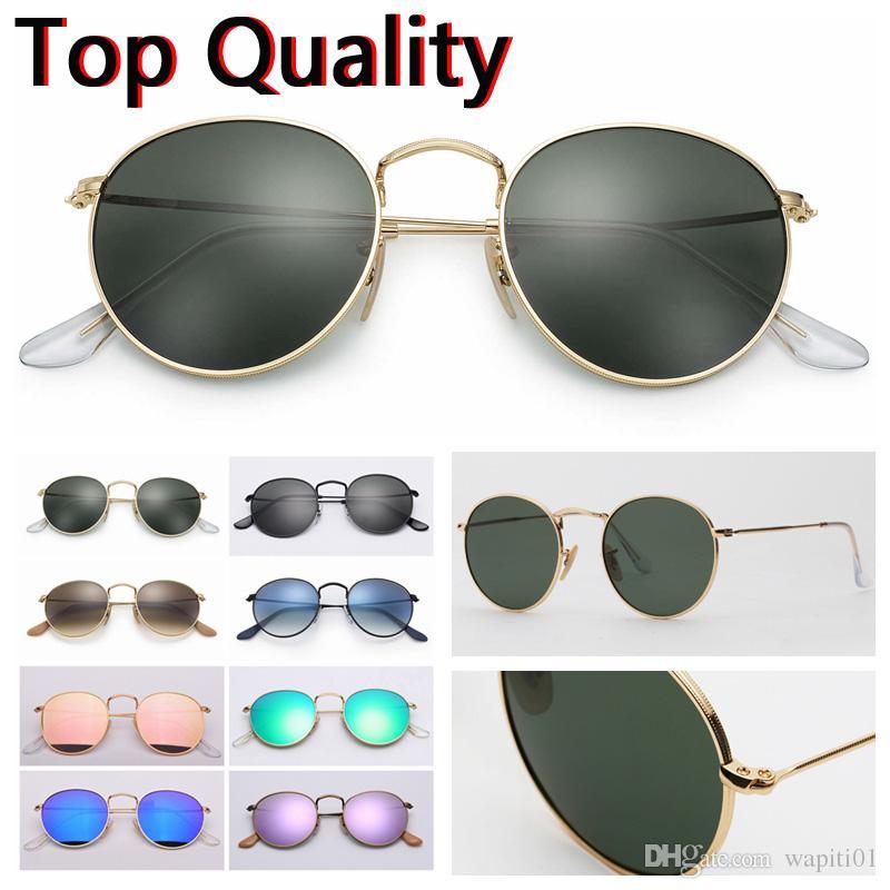 패션 남성 여성 라운드 금속 모델 최고 품질 UV400 유리 렌즈 추가 갈색 또는 검은 색 가죽 케이스 천 및 모든 액세서리 선글라스