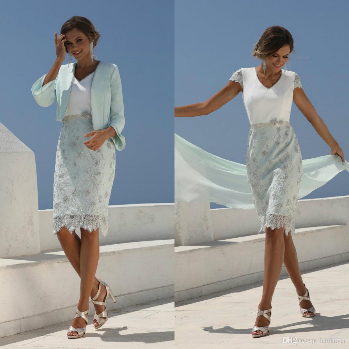2020 Chic Mutter der Braut Kleider Mit Kurzer Jacke Spitze Appliziert Hochzeitsgast Kleid Knielangen Formale Mutter Outfit Abendkleider