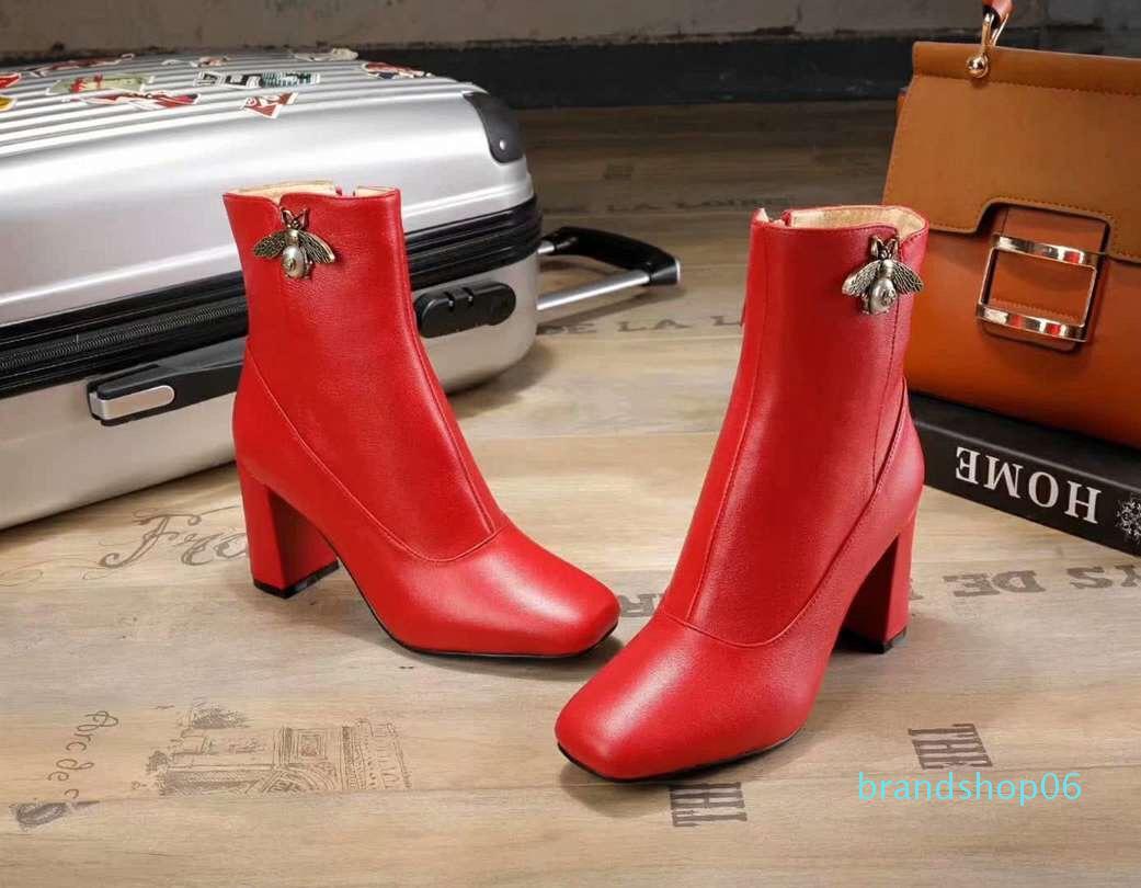 Горячая распродажа-женская мода коренастый каблук Мартин сапоги из натуральной кожи женская Марка повседневная удобная ботильоны Chaussure Homme размер 34-40