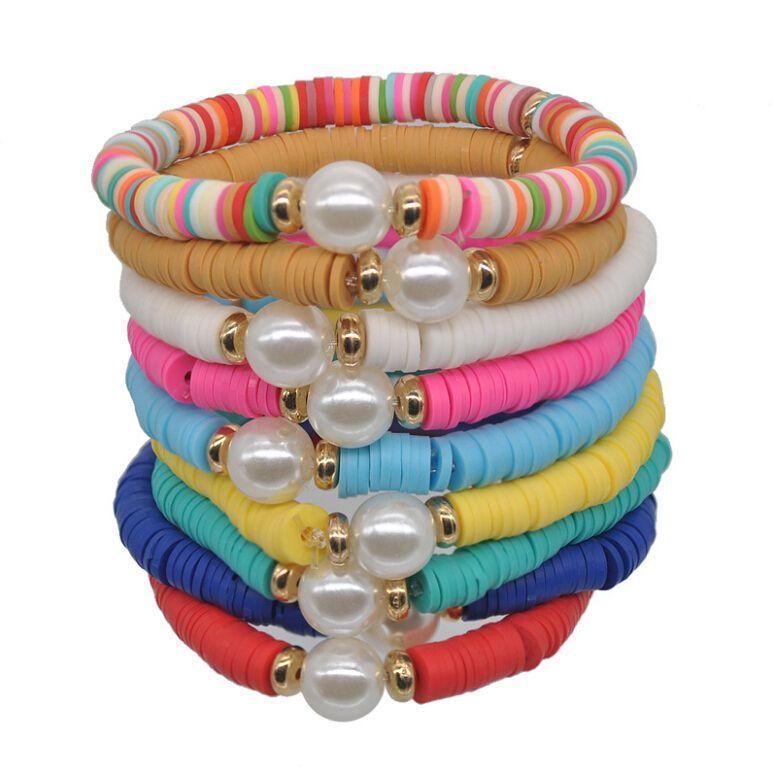 Мягкий ClayCSliced Жемчужина эластичный Канат браслет для женщин ручной переплетения браслет транспортной веревки