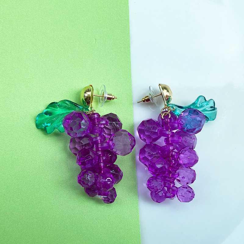 Vogallery Purple Drop Earrings Women Cute Fruit Grape Big Earrings Statement Resin Jewelry Summer Accessories Party Jewellery