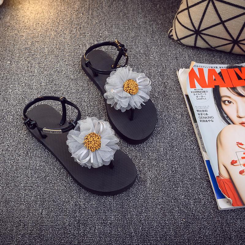 Горячие продажи-летние сандалии женщин Т-ремень вьетнамки стринги сандалии дизайнер цветок обувь дамы Гладиатор сандалии повседневная Zapatos Mujer