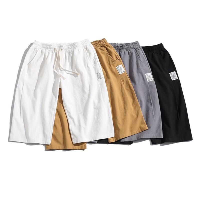 Men Hip Fashion Solid Cotton Calf-Length Harem Pants Men Wide Crotch Loose Large Cropped Trousers Wide-legged Bloomers