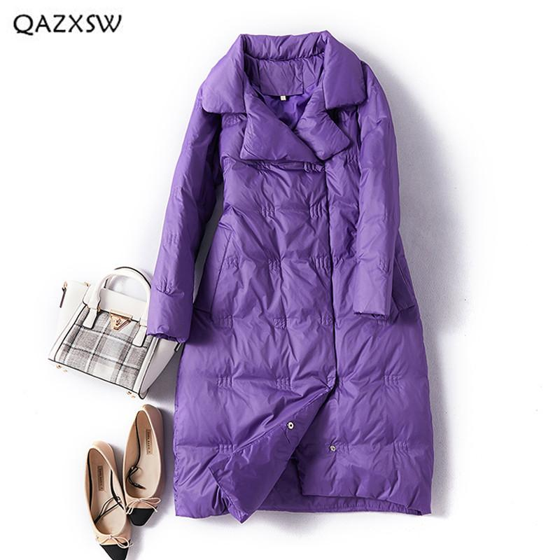 QAZXSW Down Jacket Long Over The Knee Women Clothes 2018 Winter New Lapel Slim Thick White Duck Down Warm Casual Outerwear LD152