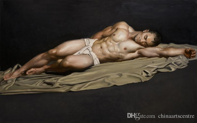 High Quality Handpainted & HD Print Figure Portrait Art Oil Painting nude male MEN On Canvas Wall Art Home Deco P41