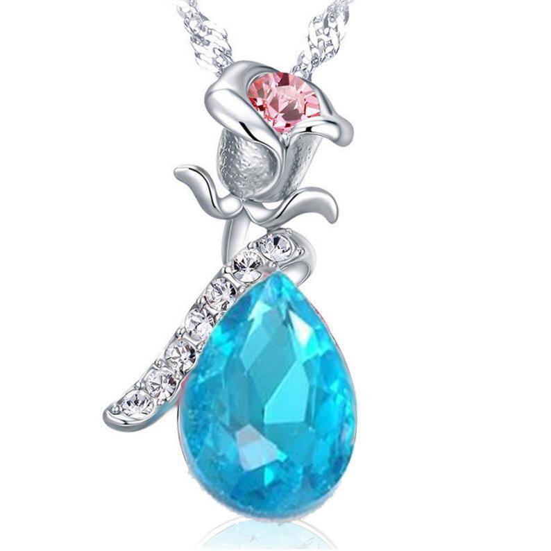 Crystals Necklaces Rose Vintage Women Charm Gold Pendant Zircon Pink Blue Sexy Flower Elegant Statement