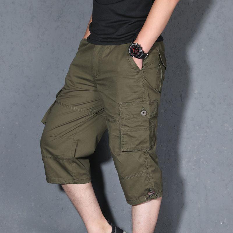 Лето Тонкий хлопок Капри Брюки Multi-карманы Укороченные брюки для мужчин S-5XL Большой Размер Свободный Рыбалка Открытый Короткие штаны
