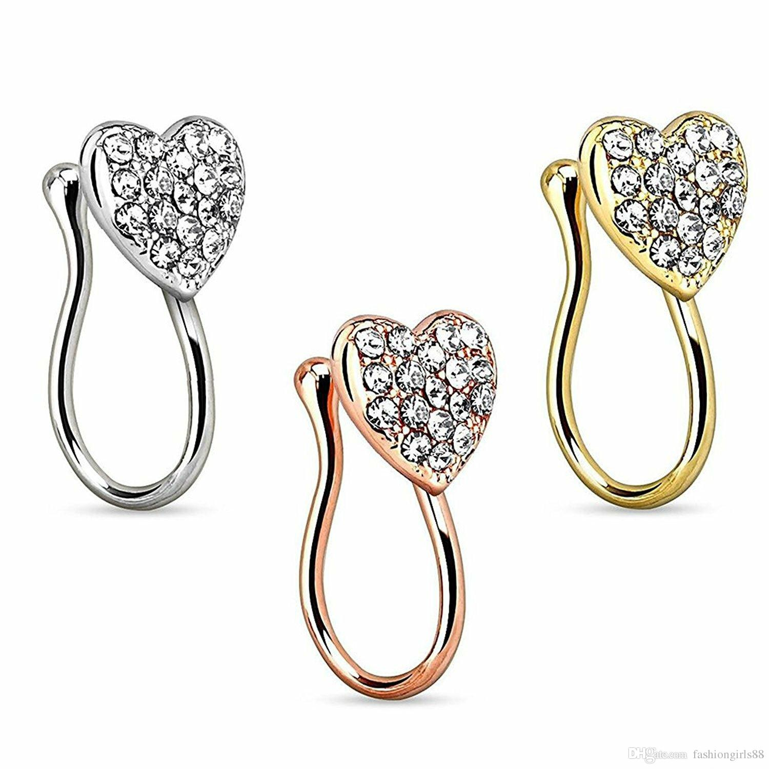 Trendy Crystal Hearts Nose Nail Stainless Steel Clip-On Nose Rings Golden Silver Rose Gold Nose Clip Puncture Accessories Body Piercing Set