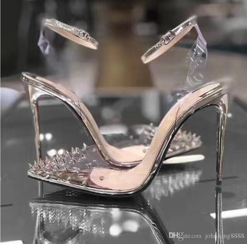Новые Кружевные Высокие каблуки натуральная кожа женщина насосы Кристалл Женщина на высоких каблуках Остроконечные схождение Заклепка Свадебная обувь Полный оригинальной упаковке