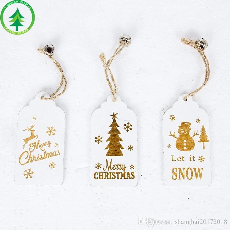 Père Noël Cerf Nouvel An Naturel Bois Arbre De Noël Ornements Pendentif Suspendu Cadeaux De Noël Décor Home Party Décorations