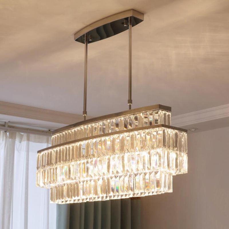 Modern LED Crystal Chandelier Dining Room Rectangular Pendant Lights Kitchen Living Room Creative Crystal Chandelier Lighting