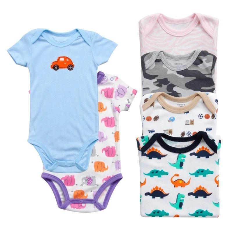 رخيصة الطفل رومبير الرضع مثلث الملابس القطن قصير الأكمام 5 أجزاء الكرتون القطن حللا السروال القصير ملابس الأطفال ملابس بالجملة