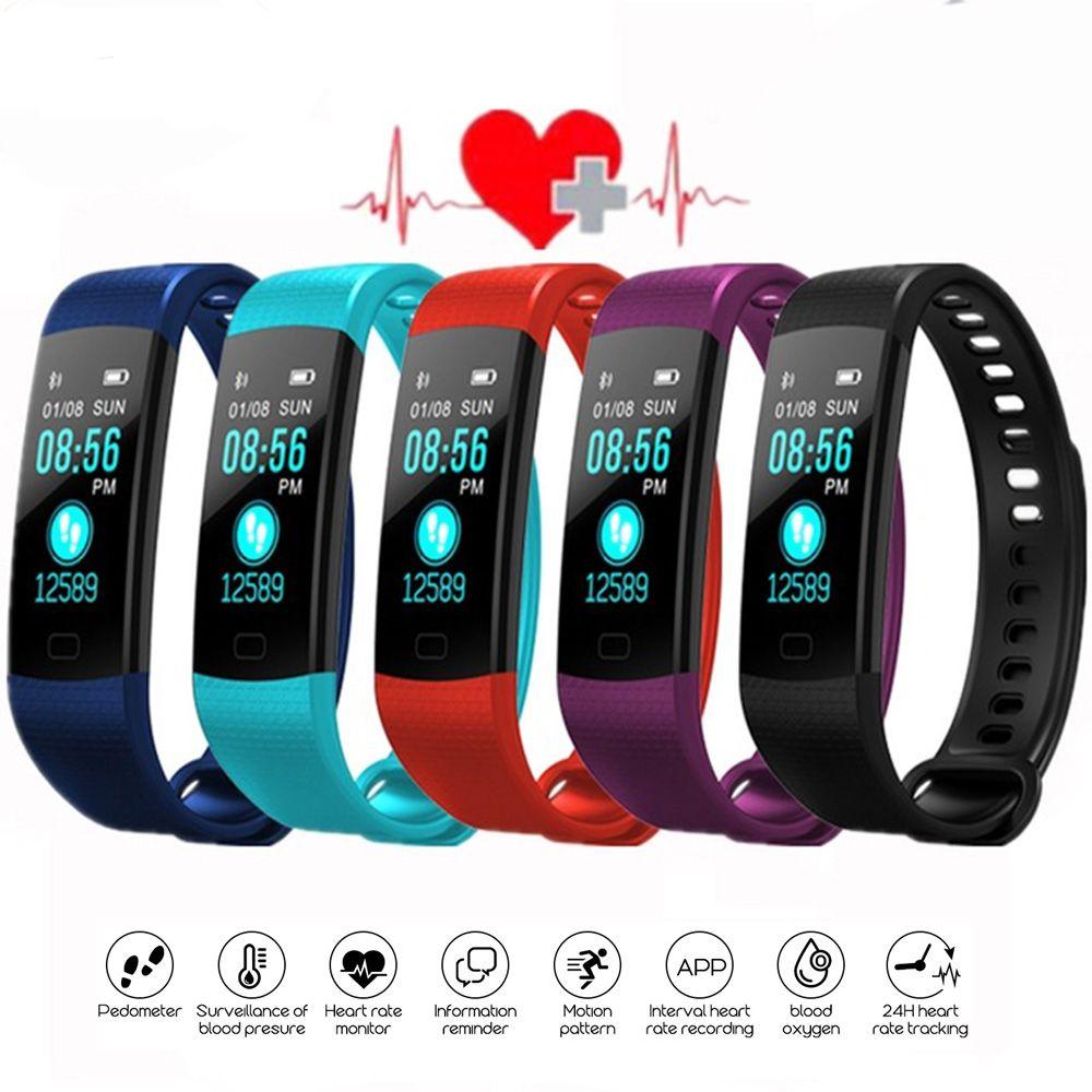 Tela Y5 inteligente Pulseira Pulseira de Fitness Rastreador Cor Heart Rate sono pedômetro impermeável Sport Activity Tracker para iPhone Samsung gh