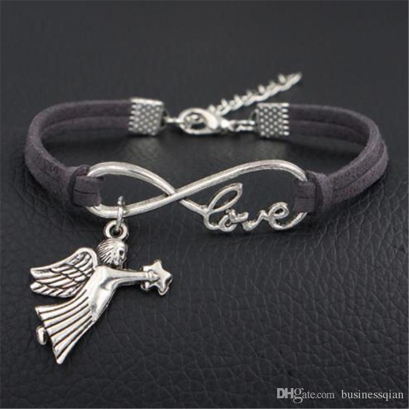 Fashion Silver Infinity Love Lovers Angel Fairy Star Dark Gray Leather Suede Cuff Bracelets Bangles Simple Women Men Jewelry Gifts Wholesale