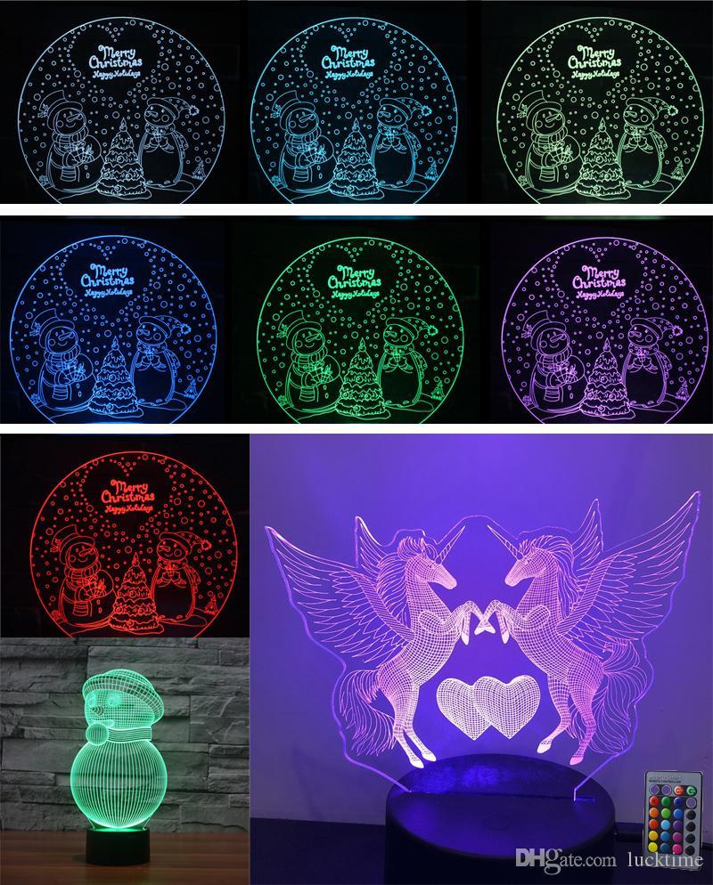 regalos de los niños LED se ilumina unicornio juguetes para niños 3D de Navidad Noche de luz LED Ilusión Lámparas de cumpleaños fiesta de Navidad Decoración del hogar