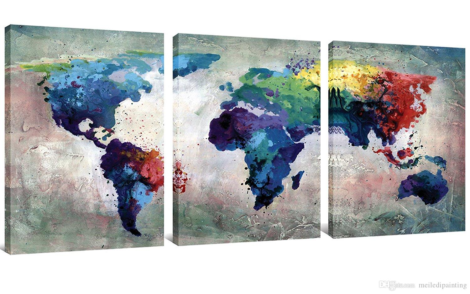 2019 3 Panles Abstract Color Map Canvas Paintings World Map Pictures Prints On Canvas Wall Art For Home Decor Wooden Framed From Meiledipainting