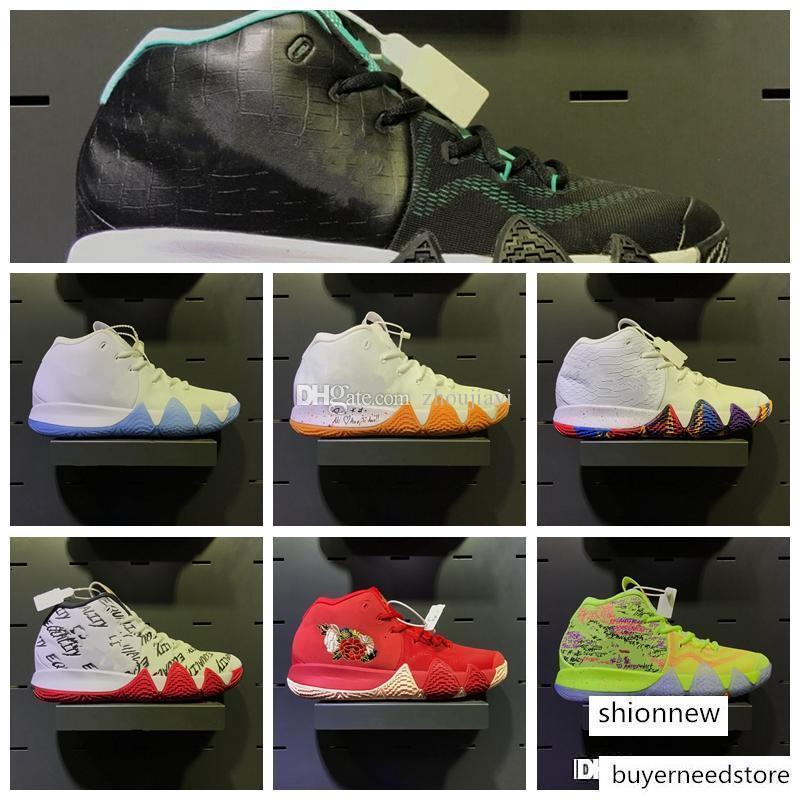 2018 Yeni Kyrie IV Konfeti ayakkabı ucuz satış Üst Kalite Irving 4 erkek basketbol ayakkabıları ücretsiz kargo deposu boyutu 40-46