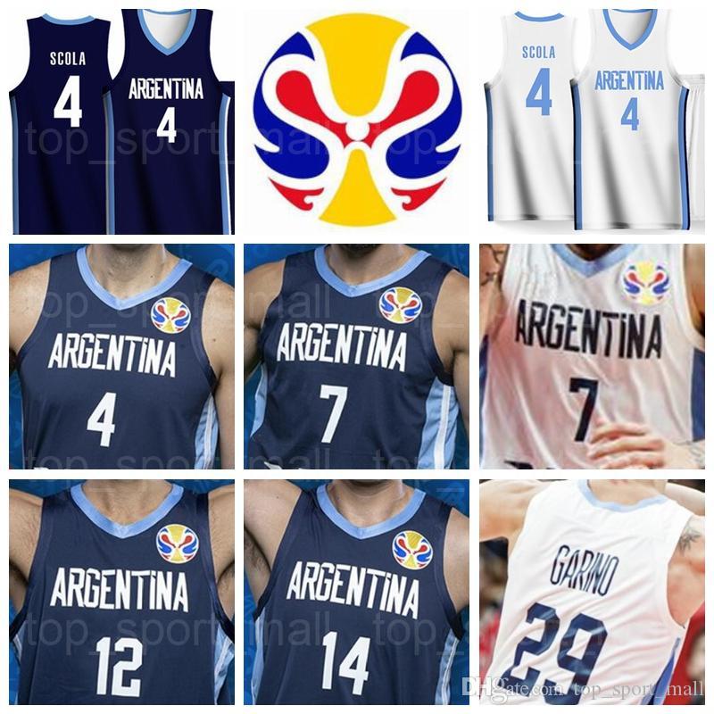 2019 World Cup Team Basket Baskey Jersey Argentina 12 Marcos Delia 3 Luca Vildoza 9 Nicolas Brusino 10 Maximo Fjellerup 4 Luis Scola Garino