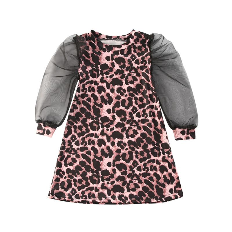 Doce criança Baby Girl malha Vestido manga comprida 2020 Marca cópia do leopardo de longo Lace Puff luva A Linha vestido da menina princesa Vestidos