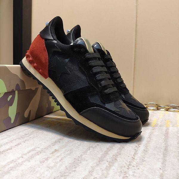 Moda Stud remache camuflaje zapatillas de deporte de los hombres de las mujeres de cuero pisos diseñador de lujo entrenadores zapatos casuales tamaño us5.5-12 002