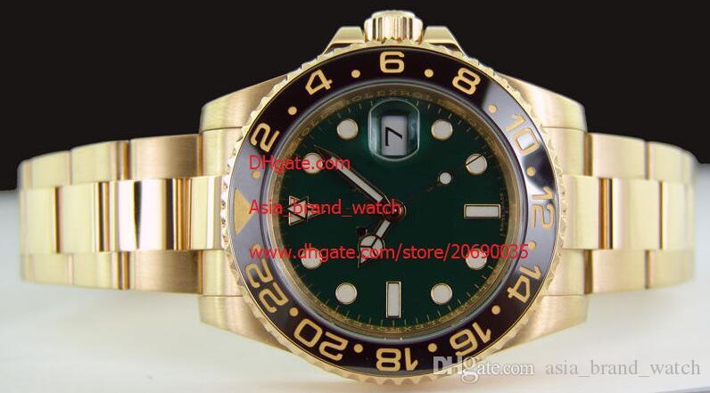 Hohe Qualität Armbanduhr Asien 2813 mechanische Bewegung 40MM 18kt GOLD GMT mit GREEN Index Dial - 116.718 Keramik Automatik Herrenuhr