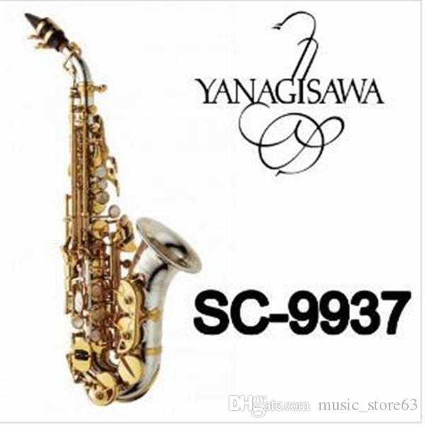أفضل نوعية ياناجيساوا SC-9937 منحني الرقبة سوبرانو الساكسفون B شقة النحاس والنيكل بالفضة ساكس مع الناطقة بلسان حالة