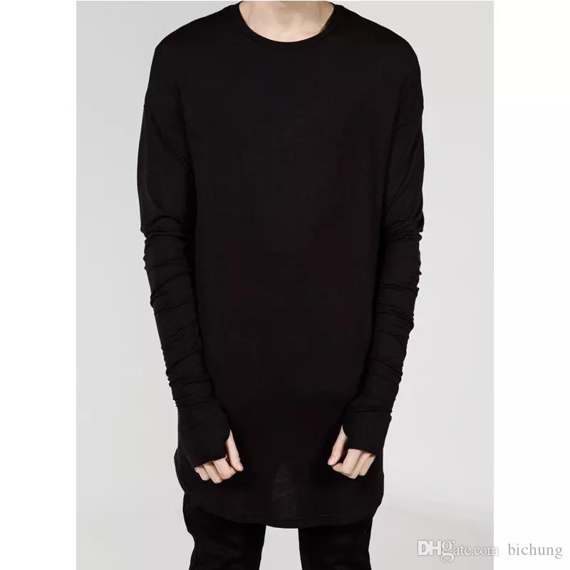 High Street men's T Shirt Extended T-Shirt Men's clothing Curved Hem Long line Tops Tees Hip Hop Urban Blank Shirts