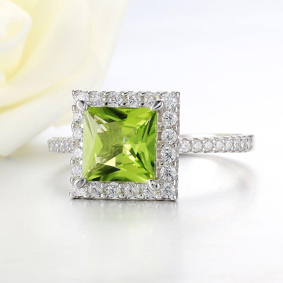 Al por mayor Kuololit-7x7mmNatural de peridoto anillos de piedras preciosas para mujeres reales de plata de ley 925 de corte princesa compromiso de la boda joyería fina