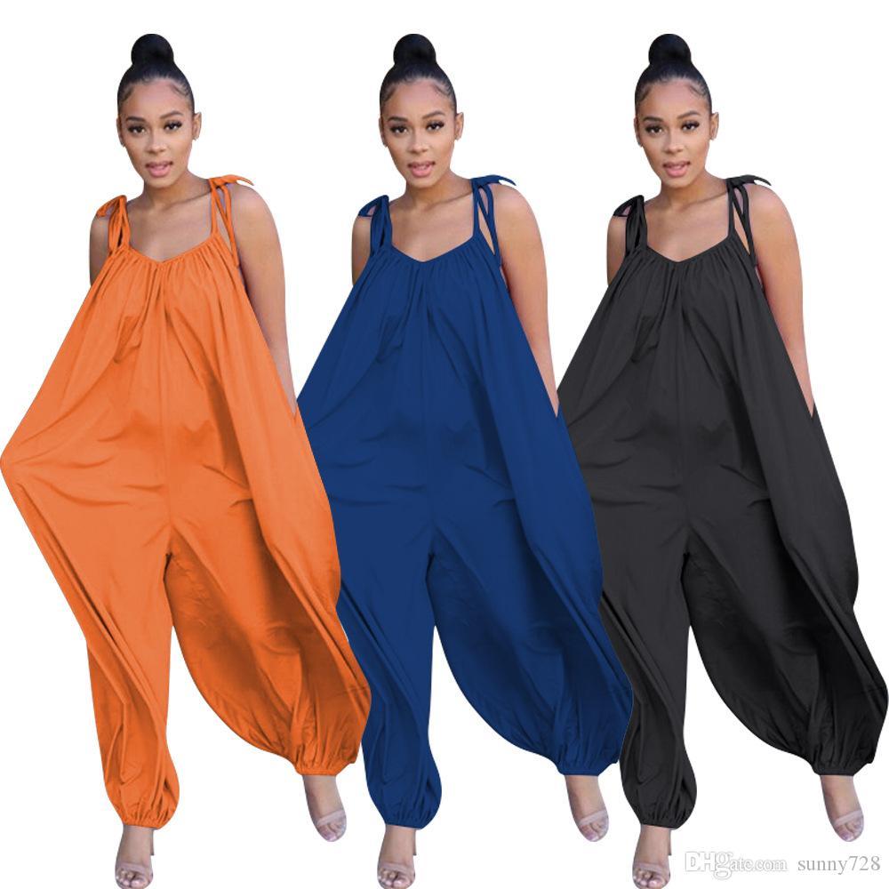 Tamanho solta gratuito Mulheres Jumpsuits Correias V Neck mangas soltas Lazer Macacões Calças De Corpo Inteiro 2020 Verão 3 cores + uns bolsos de calças