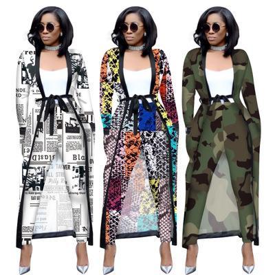 2019 Sonbahar Kış Kadın Seti Tam Kol Uzun Cape Coat Sashes Pantolon Seksi Moda OL İki Adet Kıyafetler eşofman 3535 Print