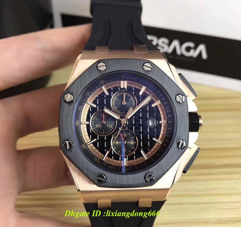 2019 Best Selling Ouro Preto Aço Inoxidável Automático Mecânico Pulseira De Borracha Esporte Homens Mens Watch Relógios