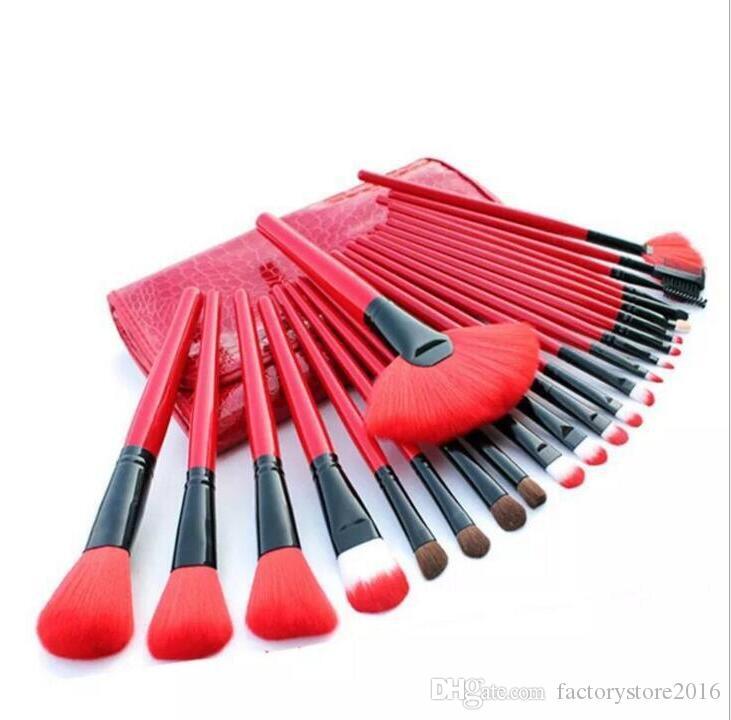24pcs Make up Brush Set Pennelli trucco strumenti di bellezza da toilette spazzole tool kit con borsa in pelle + rotola in caso cosmetico DHL