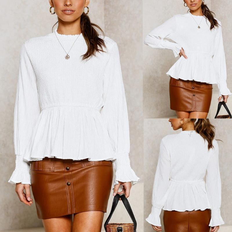plus size blusa das mulheres Causal manga comprida Moda Escritório das senhoras Ruffles Sólidos O-Neck Top blusa blusa feminina ropa mujer