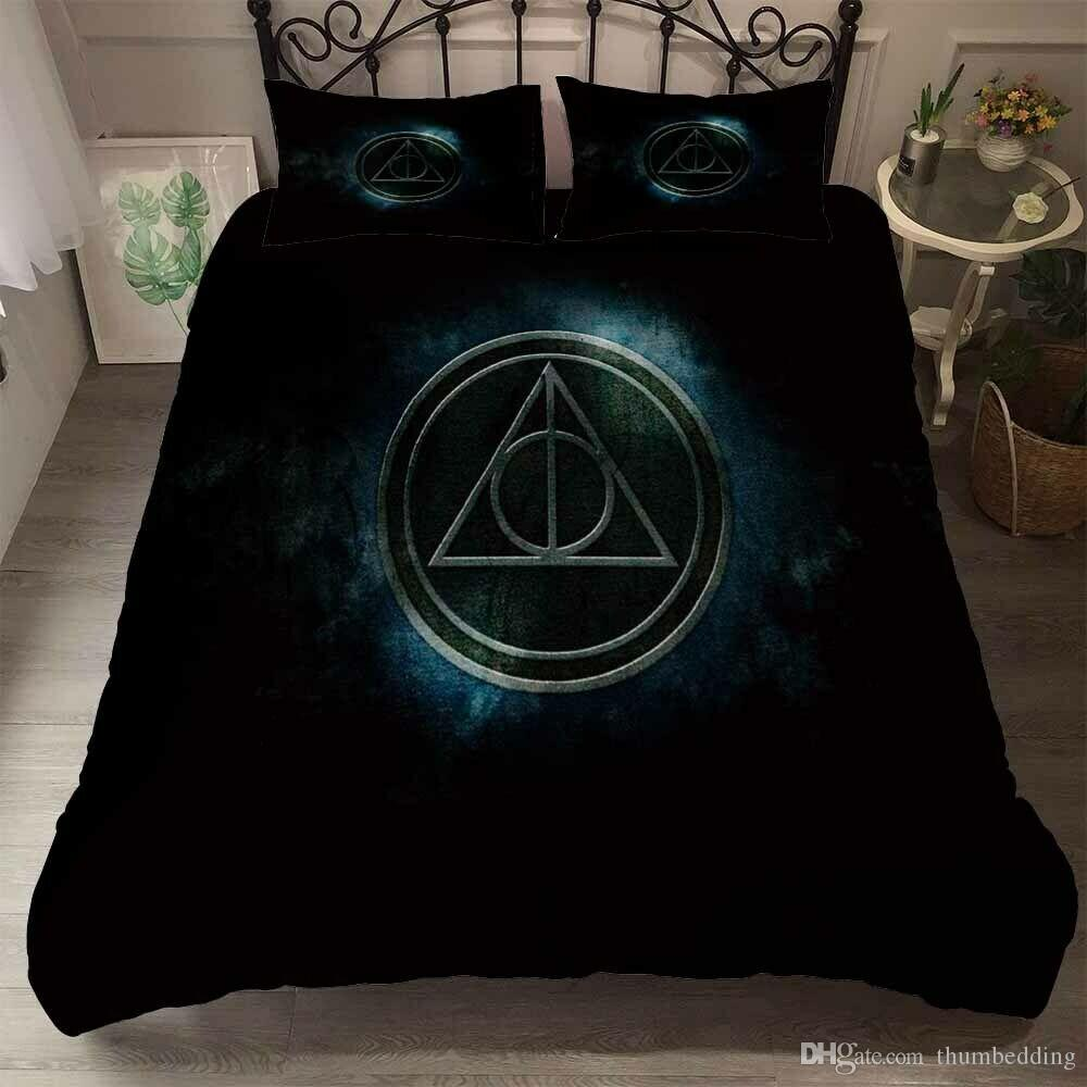 Thumbedding Harry Potter Bedding Sets King Size Black Grey Duvet Cover Set Queen Twin Full Single Double Animal Bed Set With Pillowcases