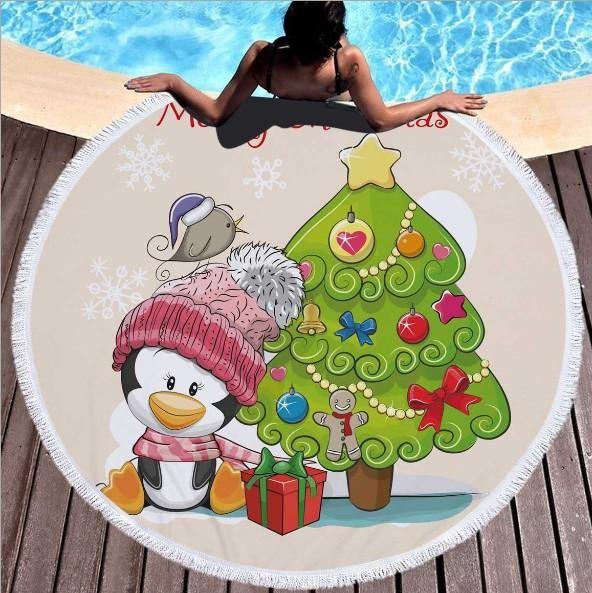 20 Noel Stil Plaj Havlusu, Püskül Ile Yuvarlak Plaj Havlusu, Unisex Yaz Plaj Mat DHL Ücretsiz