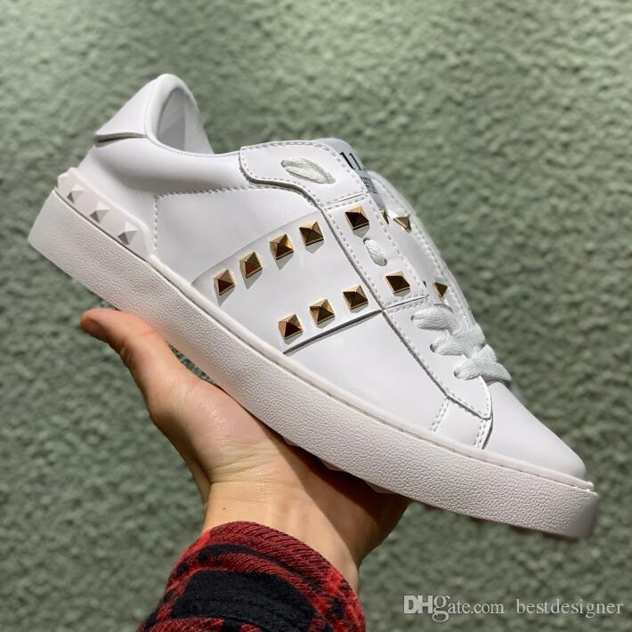 2019 Wholesale casual designer open shoes men women splice rivet classic fashion Lovers white Genuine Leather sneakers cheap for sale