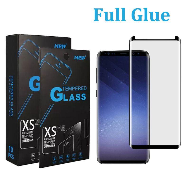 전체 접착제 5D 강화 유리 곡선 가장자리 스크린 프로텍터 SAMSUNG S21 Plus S20 S10 S9 S9 S8 Galaxy Note 10 9 8 Note 20 Ultra