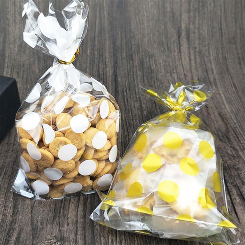 Cookie 200pcs Bolsas pequeñas Embalaje transparente Oro Dulce Bolsa Dulce Regalo DIY Party Plastic Candy Bag Blanco Caja Dots Hnnhk