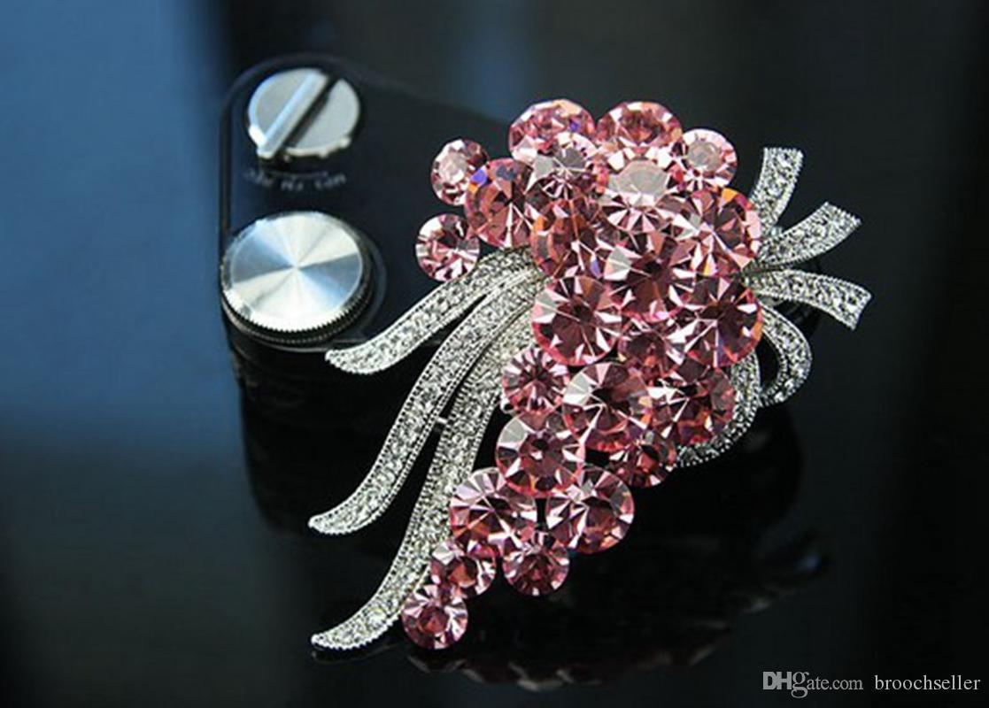 "2.4"" Rhodium Silver Plated Crystal Diamante Rhinestone Large Party Brooch"